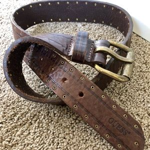 Guess Genuine Leather Brown & Gold Belt